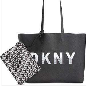 DKNY Brayden Signature Reversible Tote Black Grey